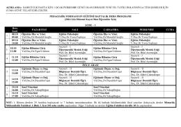 Haftalık Ders Programı (2014 Güz Dönemi Başlayan