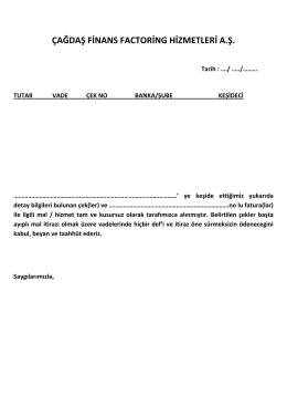 Keşideci Teyit Yazısı - ÇAĞDAŞ Finans Factoring Hizmetleri A.Ş.