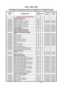 2013 - 2014 DGS Yerleştirme Sonuçlarına Göre En Büyük ve En