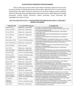 2014 yılı dgs sınavıyla yükseköğretim programlarına yerleşen