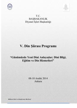 T. C. Başbakanlık Diyanet İşleri Başkanlığı V. Din Şûrası Genel