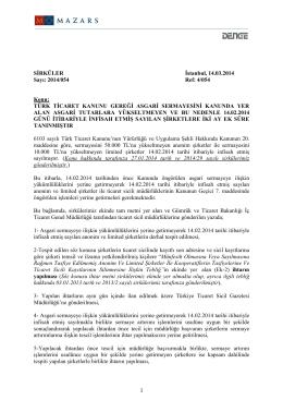 Türk Ticaret Kanunu Gereği Asgari Sermayesini