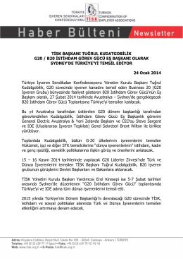 tisk başkanı tuğrul kudatgobilik g20 / b20 istihdam görev gücü eş