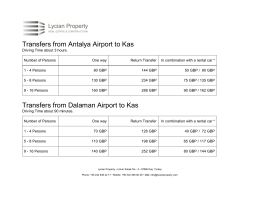 Transfers from Antalya Airport to Kas Transfers