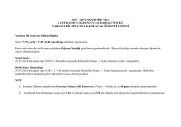 2013 – 2014 akademġk yılı llp/erasmus öğrencġ staj hareketlġlġğġ