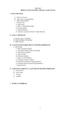 Faaliyet Raporu - 9. Bölge Müdürlüğü