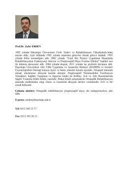 Prof. Dr. Zafer ERDEN - Fizik Tedavi ve Rehabilitasyon Bölümü