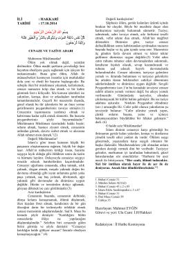 17.10.2014 Cenaze ve Taziye Adabı