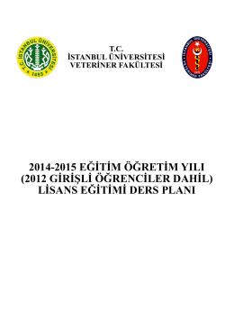 2012 Yılından İtibaren Ders Planı - İstanbul Üniversitesi   Veteriner