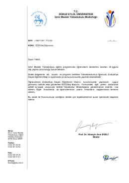 T.C. DOKUZ EYLÜL ÜNİVERSİTESİ İzmir Meslek Yüksekokulu