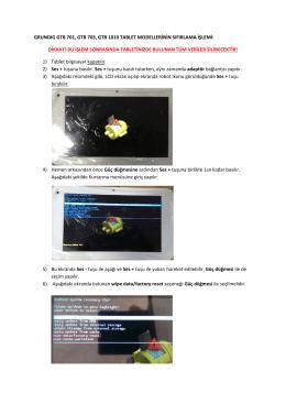 grundıg gtb 701, gtb 703, gtb 1010 tablet modellerinin sıfırlama