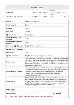 Üretim Planlama II (Lisans) - Endüstri Mühendisliği Bölümü