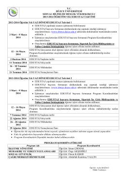Yaz Staj Takvimi - Düzce Üniversitesi Sosyal Bilimler Meslek