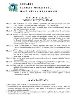 01.01.2014 – 31.12.2014 dönemi bütçe talimatı
