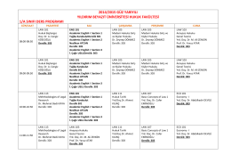 1. Sınıf Ders Programı