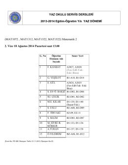 (MAT1072 , MAT1312, MAT1322, MAT1522) Matematik 2 2. Vize 18