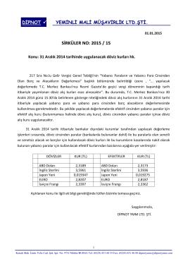sırk 2015-15 31.12.2014 tarihli döviz ve efektif kurları hk.