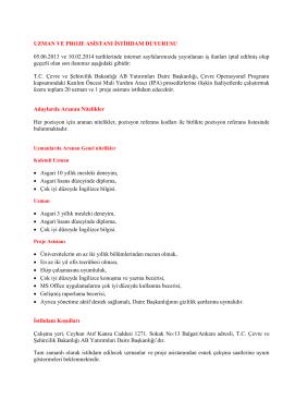 İŞ İLANI - Çevre ve Şehircilik Bakanlığı