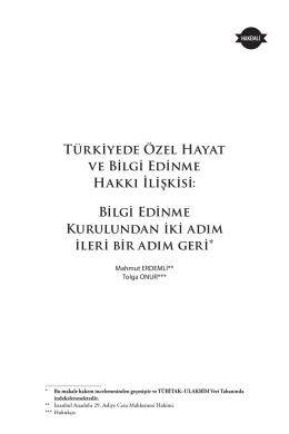 Türkiyede Özel Hayat ve Bilgi Edinme Hakkı İlişkisi