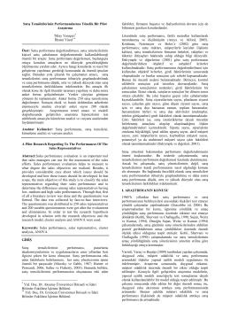 Satış Temsilcilerinin Performanslarına Yönelik Bir Pilot Araştırma