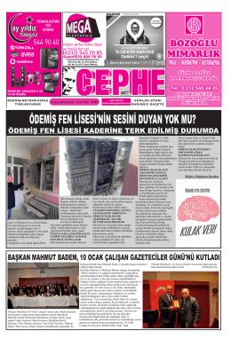 12.01.2015 Tarihli Cephe Gazetesi