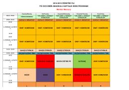 Merkür Sınıfı Ders Haftalık Ders Programı