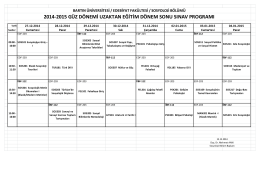 2014-2015 eğitim öğretim yılı güz yarıyılı sosyoloji final programı