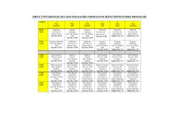 zirve üniversitesi 2013-2014 pedagojik formasyon ikinci dönem ders