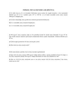 FİZİKSEL METALURJİ SORULARI (BÖLÜM 4)