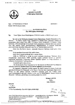 İl Milli Eğitim Müdürlüğü Yazısı - tarsus ilçe millî eğitim müdürlüğü