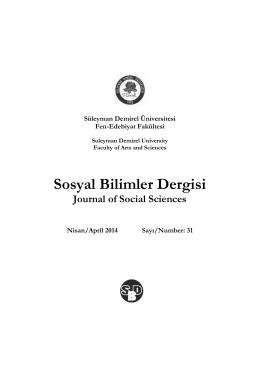 Sosyal Bilimler Dergisi - Süleyman Demirel Üniversitesi