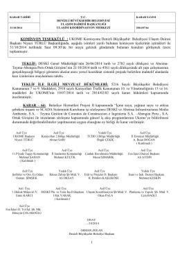 KOMİSYON TEŞEKKÜLÜ : UKOME Komisyonu