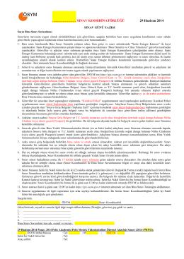 SINAV KOORDİNATÖRLÜĞÜ 29 Haziran 2014