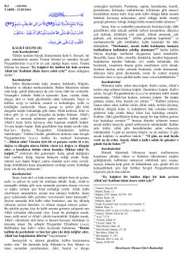 Kalb-i Selim - Kutlu Doum - Diyanet İşleri Başkanlığı