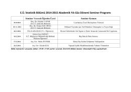 E.Ü. İstatistik Bölümü 2014-2015 Akademik Yılı Güz Dönemi