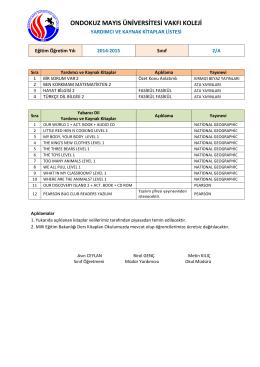 2A Sınıfı Kitap Listeleri