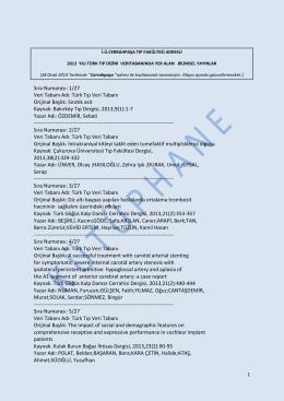 Sıra Numarası: 1/27 Veri Tabanı Adı: Türk Tıp Veri Tabanı Orijinal