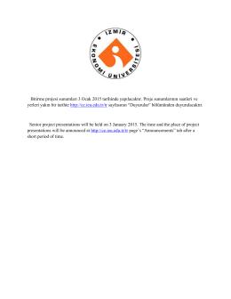 Bitirme projesi sunumları 3 Ocak 2015 tarihinde