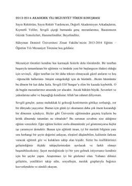 ın Mezuniyet Töreni Konuşması - Süleyman Demirel Üniversitesi