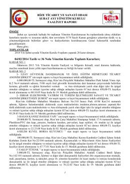 Şubat 2014 Faaliyet Raporu - Rize Ticaret ve Sanayi Odası