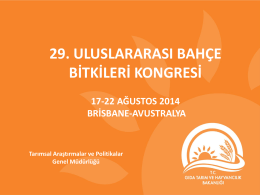 """""""29. Uluslararası Bahçe Bitkileri Kongresine"""" ne katılım"""