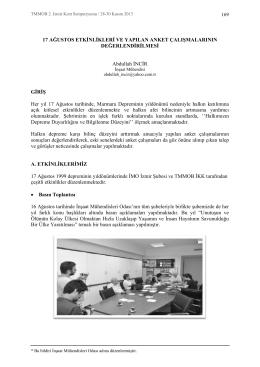17 Ağustos Etkinlikleri ve Yapılan Anket Çalışmalarının