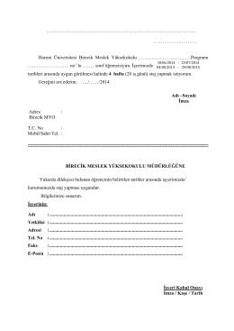 Staj Başvuru Dilekçesi - Birecik Meslek Yüksekokulu