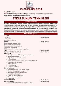 ETKİLİ SUNUM TEKNİKLERİ - Adana Organize Sanayi Bölgesi