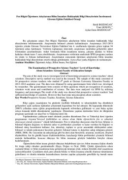 Tam Metin - Giresun Üniversitesi Sosyal Bilimler Enstitüsü