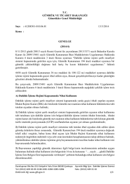 Nihai Kullanım - T.C. Gümrük ve Ticaret Bakanlığı