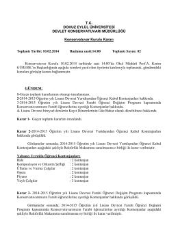 T.C. DOKUZ EYLÜL ÜNİVERSİTESİ DEVLET KONSERVATUVARI