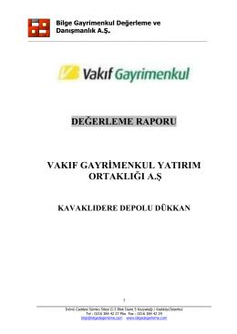 çankaya(kavaklıdere) rapor - Vakıf Gayrimenkul Yatırım Ortaklığı