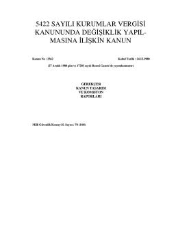 5422 sayılı kurumlar vergisi kanununda değişiklik yapıl