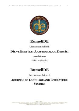 Dergi Dosyası - RumeliDE | Dil ve Edebiyat Araştırmaları Dergisi